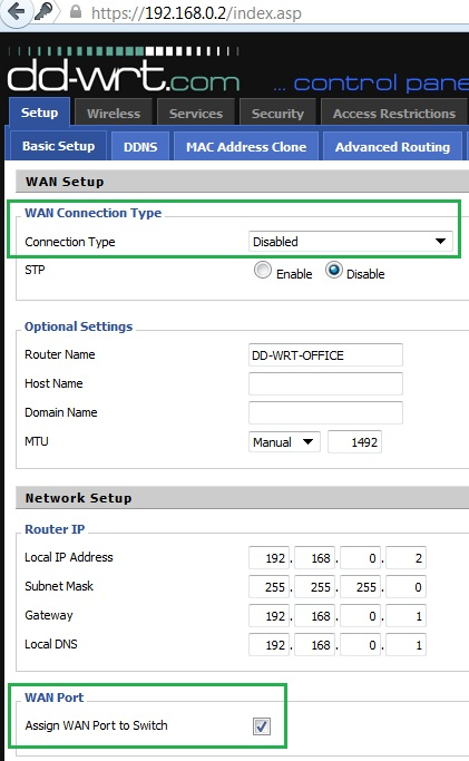 WAN Disabled and assigned to Switch