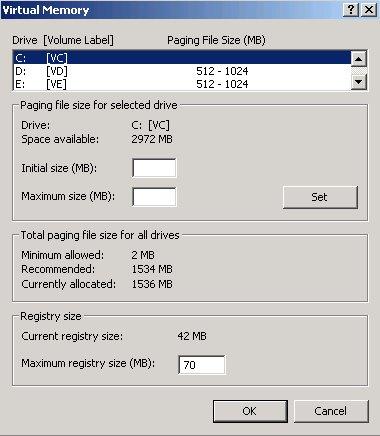 Virtual Memory Allocation Screen