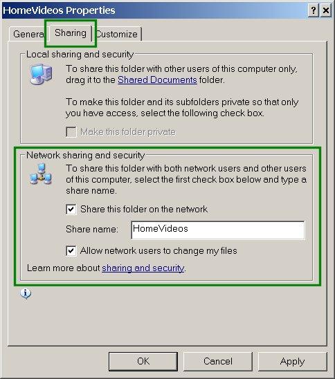 SAMBA: Windows Sharing Properties Popup