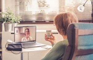 telehealth visit conducted between an elderly woman and her physician