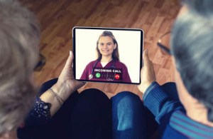 two patients waiting for a telehealth virtual video visit to begin