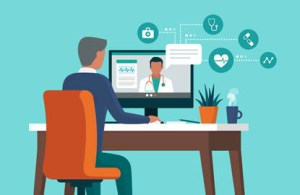 A patient utilizing telehealth with his provider from his desk - illustration