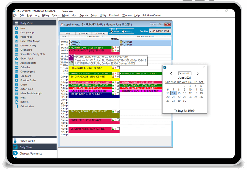 Appointment scheduling window of MicroMD Practice Management Software. The window includes a variety of colors to include appointments scheduled.