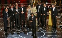 """Director Alejandro Inarritu accepts the Oscar for best picture for his film """"Birdman"""" during the 87th Academy Awards in Hollywood"""