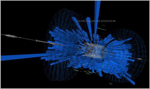 Protones chocando con un colimador del LHC - CERN