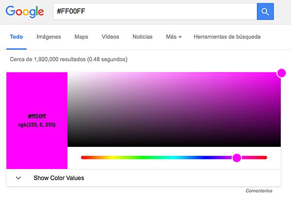 Google también sirve para buscar colores