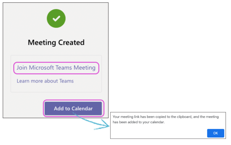 Image showing a prompt to add a Microsoft Teams meeting to the Teams Calendar.
