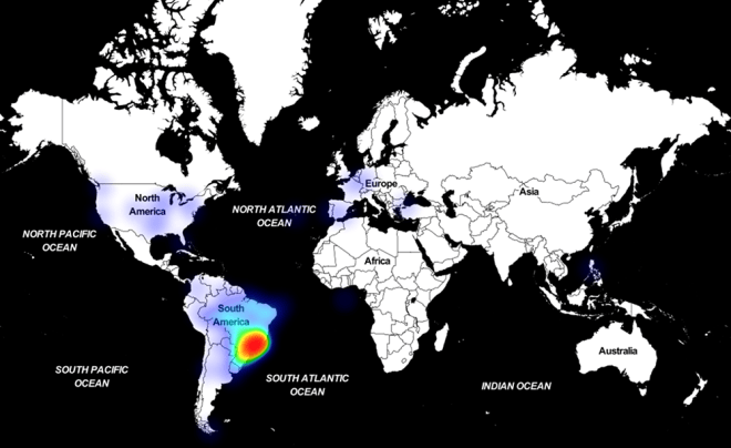 Heat map showing Astaroth encounters, with Brazil accounting for majority of encounters