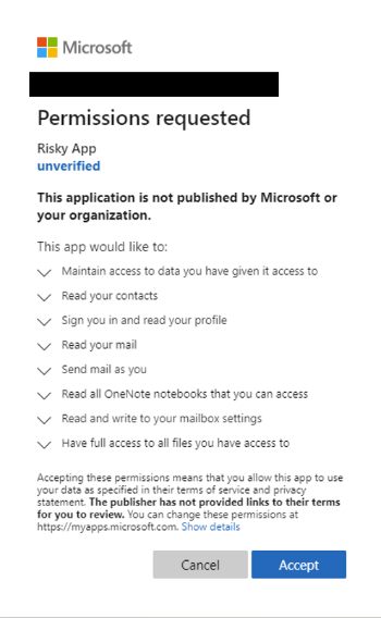 """An image showing the Microsoft """"Permissions requested"""" dialogue."""