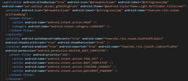 Malware code showing manifest file