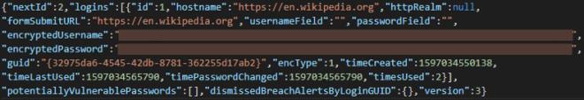 Screenshot of JSON file
