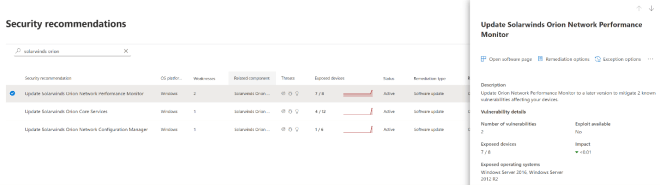 Screenshot of security recommendations for Solorigate in Microsoft Defender Security Center