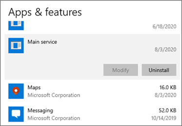 Screenshot of Apps and features settings showing the installed malware
