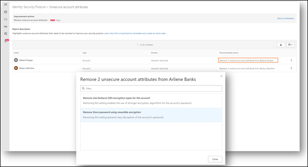 Screenshot of Microsoft Defender for Identity showing unsecure account attributes