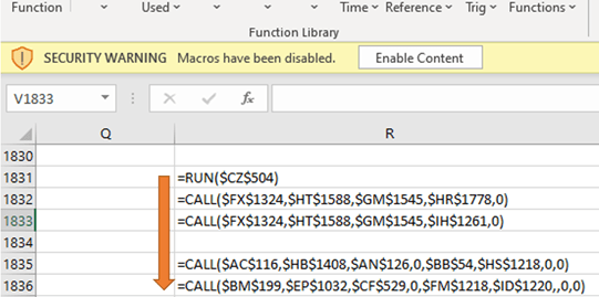 Screenshot of Microsoft Excel file with malicious XLM macros