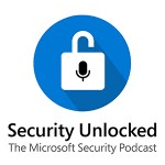 Security Unlocked podcast icon displaying illustration of lock with microphone inside