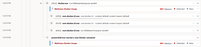 Screenshot of Microsoft Defender Security Center showing detection of malicious Docker image