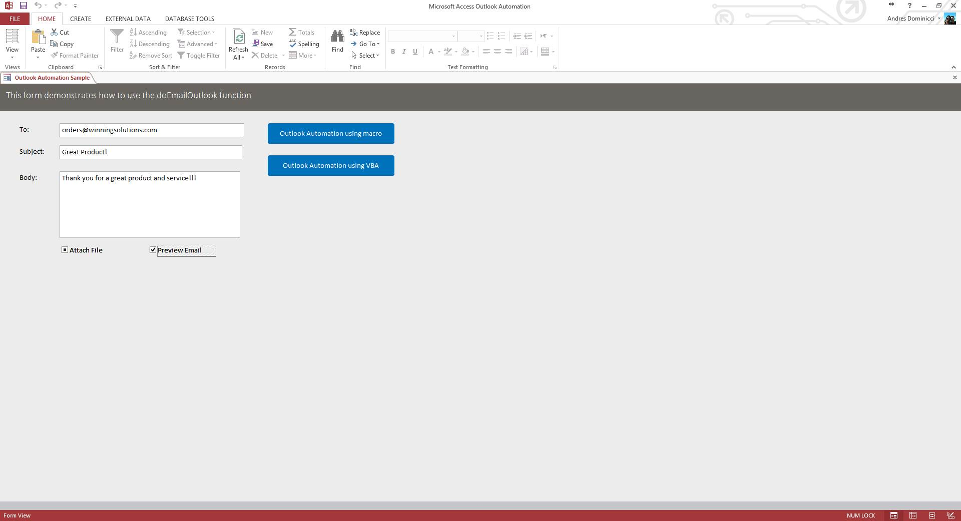 Emailing From Outlook