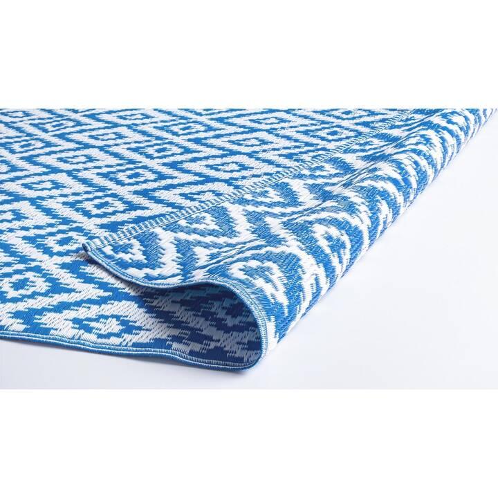 mutoni lifestyle tapis rhombus 180 cm x 120 cm bleu blanc