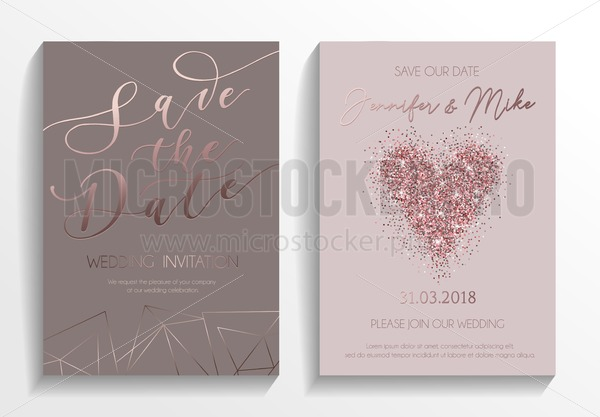 Wedding Invitation Card Set Modern Design Template With Rose Gold Glitter Heart And Lettering Elegance Geometric Elements