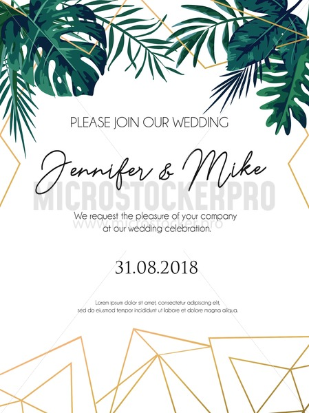 Wedding Invitation Tropical Design With Golden Geometric Lines And Leaves Elegant Fl Template For Engagement Lettering White