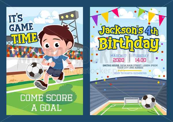 football party invitation template with footballer