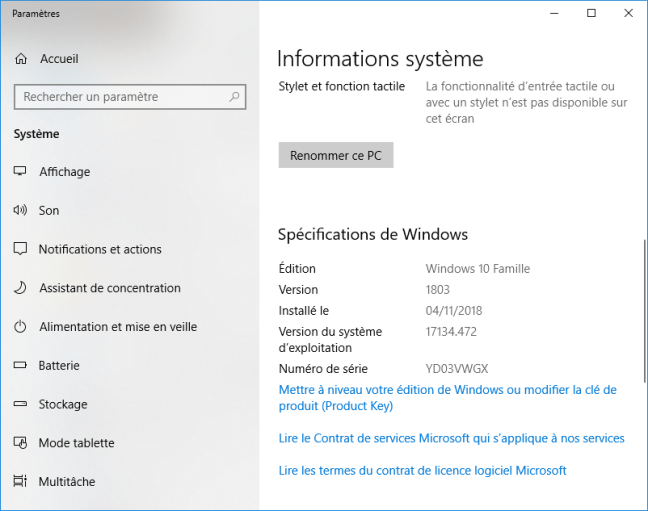 Windows 10 - Informations système