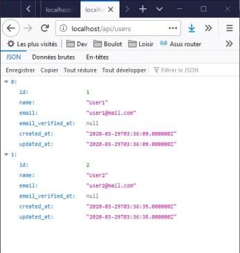 Appel sur l'API REST dans le navigateur - réponse JSON