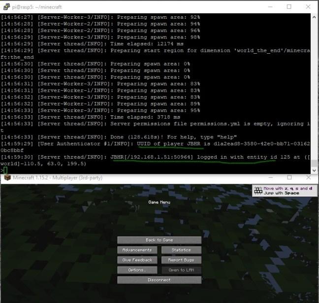 Login au serveur spigot sous Raspberry depusi le Minecraft Launcher