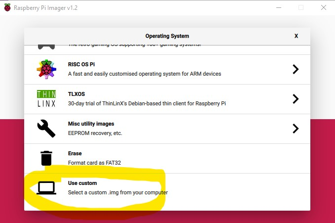 L'attribut alt de cette image est vide, son nom de fichier est Raspberry-Pi-Imager-use-custom-img.jpg.