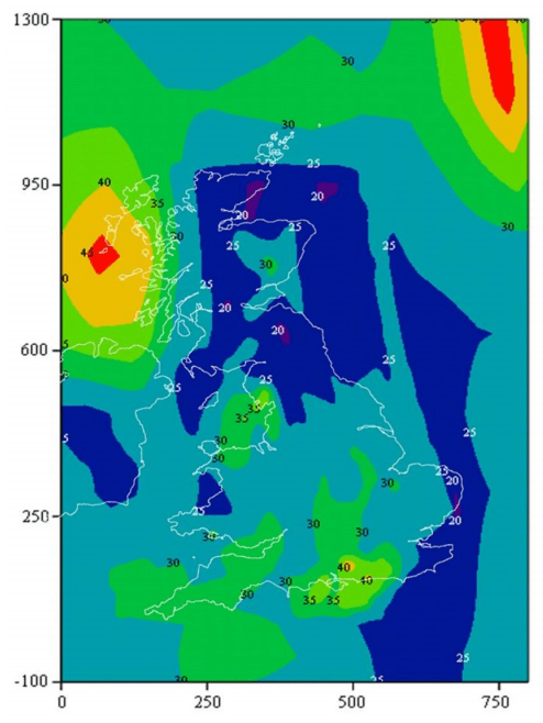 UK rainfall rates for planning microwave links