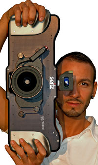 A guy holding the 160 megapixel camera