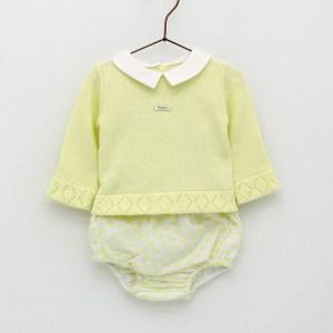 conjunto bebe niño de jubon de punto y braguita plumeti amarillo