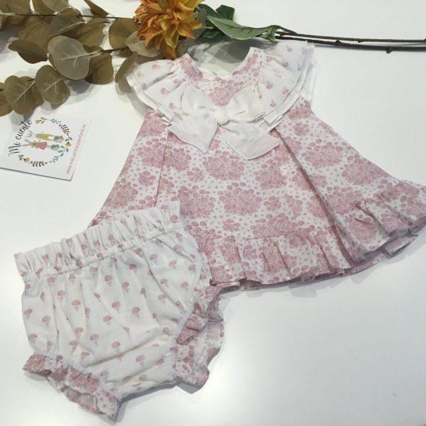 vestido bebe con braguita con lazo en el pecho