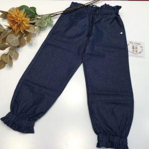 pantalon ancho azul con fruncido