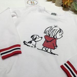 sudadera perros blanca y roja de mon petit