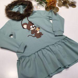 vestido sudadera capucha pelo , raton mon petit