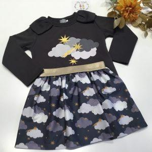 conjunto nubes falda y sudadera mon petit