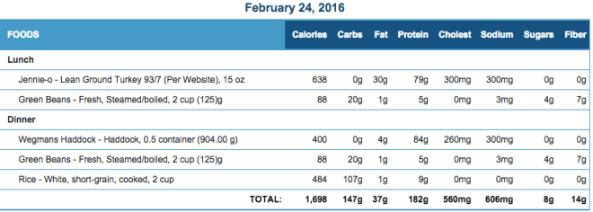 Mike's Diet Journal Entry for Feb 24 2016