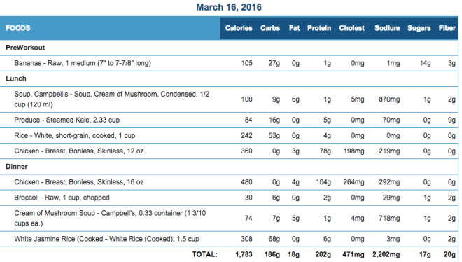 Mike's Diet Journal Entry for March 16 2016