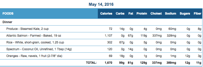 Mike's Diet Journal Entry for May 14 2016