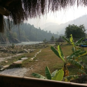 The view upriver from my hut