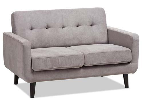 Baxton Studio - Carmena Loveseat Couch Light Grey