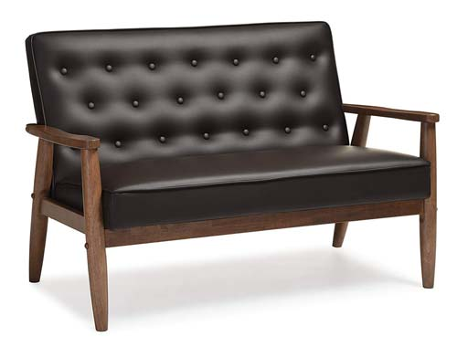 Baxton Studio Sorrento Bench Vinyl - Brown