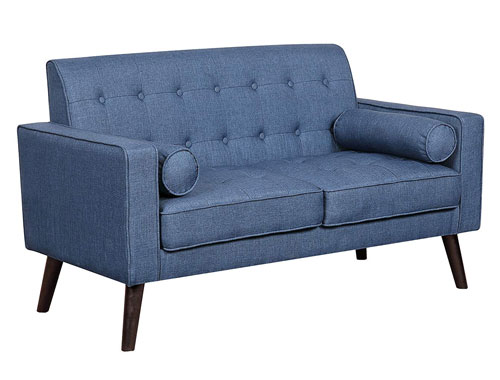 Container Furniture Direct Valadez Loveseat Mid-Century - Blue