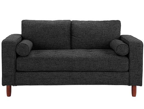 Divano Roma Modern Tufted Love Seat - Dark Grey