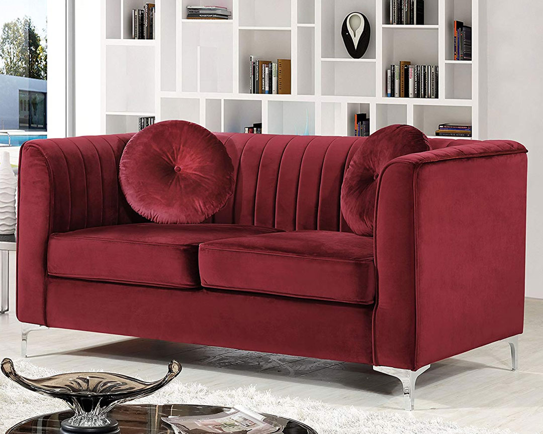 Meridian Furniture Isabelle (Velvet) - Loveseat Sofa - Featured