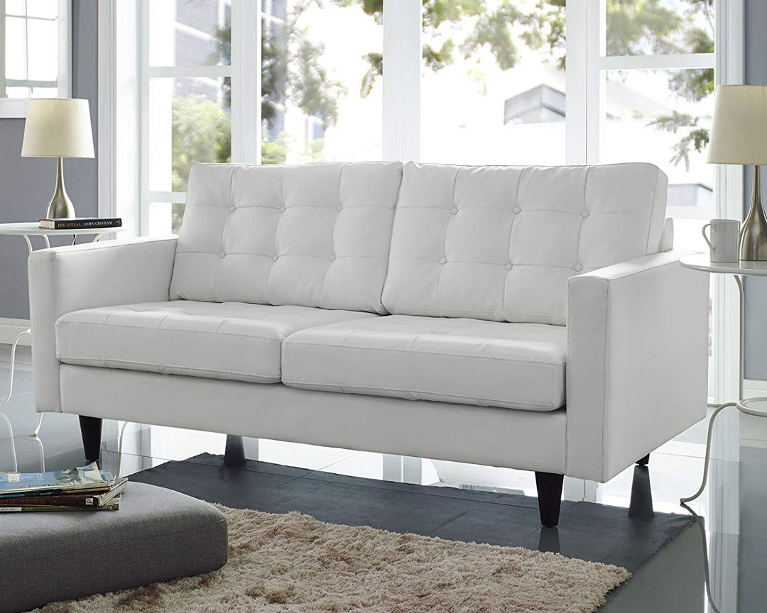Modway Empress Leather Loveseat - Featured