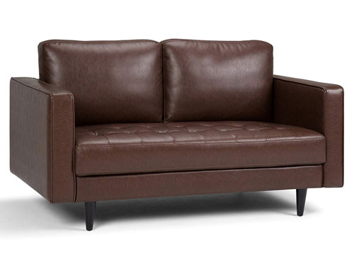 Simpli Home Blaine - Midcentury Faux Leather Loveseat - Brown