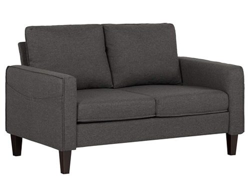 South Shore Fabric 2-Seat Loveseat Mid-Century - Gray